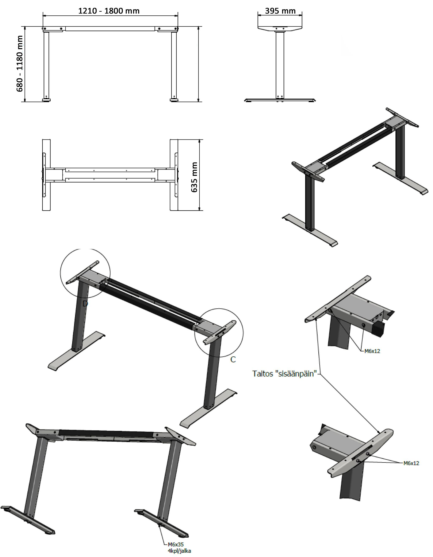 moottoroitu pöytä sähkösäädettävä työpöytä runko